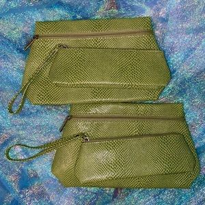 Faux Snakeskin Clinique Cosmetic Bag Set